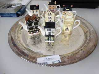 Mini Teapots and Silver Platter