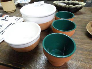5 Porcelain lined Ceramic Pots