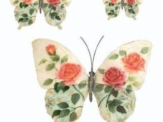 Butterflies White and Pink Set Of Three Garden Decoration   18 x 1 x 13