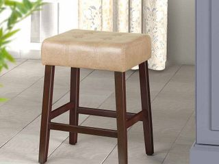 HomePop Tufted Faux leather 24  Counter Stool   Taupe   24 inches