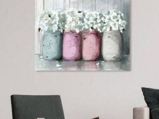 Oliver Gal  Mason Jar Soft  Floral and Botanical Wall Art Canvas Print Florals   Pink  White Retail 111 49