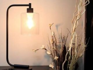 Carbon loft locke Black Iron Glass shade Antique style Industrial lantern Desk lamp Retail 76 48