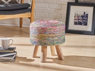 Silk Multi Swirl Fabric Round Stool by Christopher Knight Home Retail 92 49