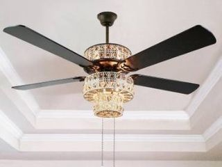 Copper Grove Angren Antique White and Champagne Crystal Ceiling Fan   52 l x 52 W x 21 H Retail 194 49