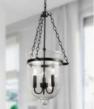 Antique Copper Finish 60 Watt Glass lantern Chandelier  As Is Item