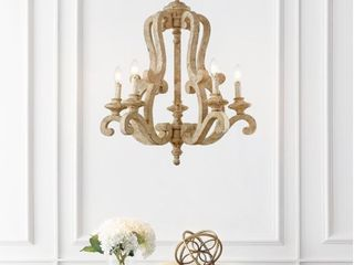 JONATHAN Y Oria 5 light 27  Adjustable Wood Iron Rustic Scrolled lED Chandelier  Brown Retail 467 99