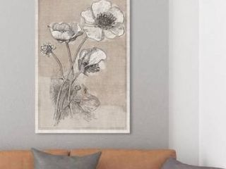 Oliver Gal  Poppies on linen  Floral and Botanical Wall Art Canvas Print   Brown  White   Brown  White Retail 106 99