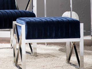Silver Orchid Brent Blue Velveteen Ottoman with Chrome finish Frame Retail 93 99