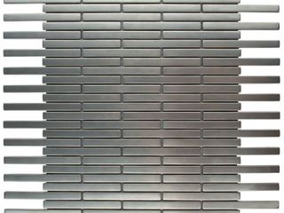 SomerTile 11 75x12 inch Anvil Brick Stainless Steel Over Ceramic Mosaic Wall Tile  10 tiles 9 8 sqft  Retail 202 49