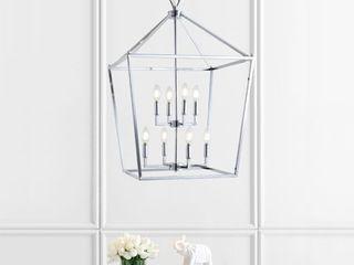Pagoda 20  8 Bulb lantern Metal lED Pendant  Chrome by JONATHAN Y Retail 260 49