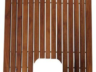 Bare Decor Peter Genuine Solid Teak Wood Toilet Mat  20x18   20 x 18 Retail 79 98