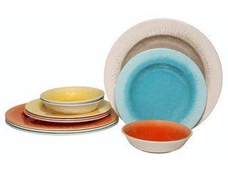 Happy Planter Crackle 12 Piece Melamine Dinnerware Set  Service for 4