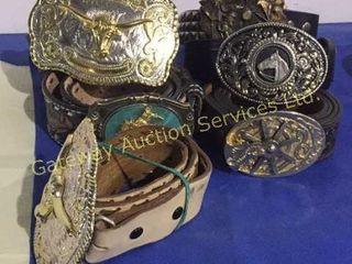 Assorted Leather Belts with Buckles