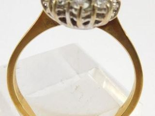 Lot #13: 18K two-tone ladies oval cluster ring