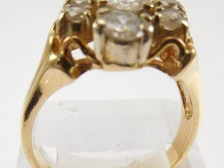Lot #9: 14k ladies 3 vertical row cocktail ring