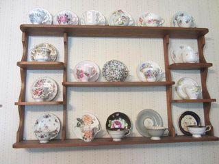 Wooden Wall Shelf, Tea Cups