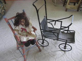 Doll Highchair, Antique Buggy