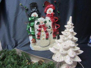 Snowman Sculpture, Tree, Garland