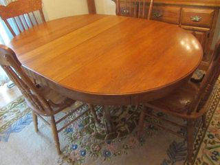 Pedestal Dine Table, Four Chairs