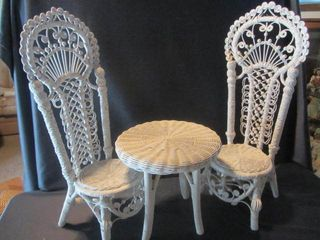 Wicker Doll Table & Chairs