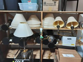 Lot Of Assorted 25 Lamps & Shades-Floor, Table, Wall