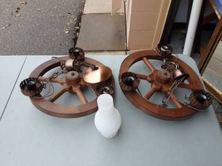 Pair Of Rustic Wagon Wheel Light Fixtures With 6-Globes