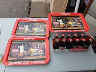 3-Coca Cola Lap Trays, 2-Six Packs Bottles