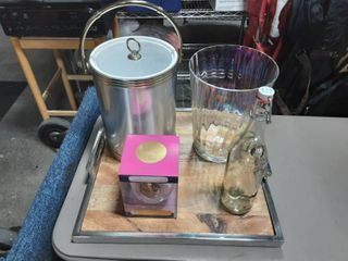 Chrome & Wood Serving Tray, Ice Bucket With Tongs, Glass Bottle & Bucket, Wine Glass (Holds Full Bottle Of Wine)