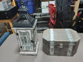 Weathered Wood Lantern & Treasure Chest Stash Box