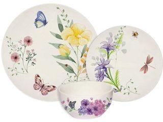 Melange 18 Pcs Place Setting Premium Porcelain Dinnerware Set  Butterfly Garden Collection  Service for 6   6 Each