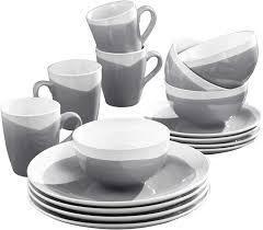American Atelier Oasis Charcoal Stoneware 16 Piece Dinnerware Set
