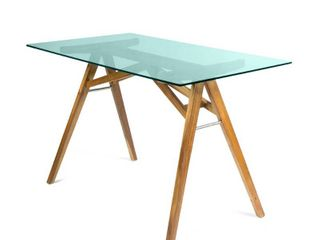 Croxton Mid Century Acacia Wood Desk with Tempered Glass Top by Christopher Knight Home  Retail 235 49