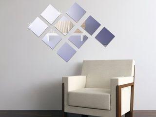 Walplus Square Acrylic Wall Mirror Tiles 9pcs DIY Art Home Decoration