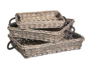 Willow Rectangular Trays   Set of 3  Retail 95 49