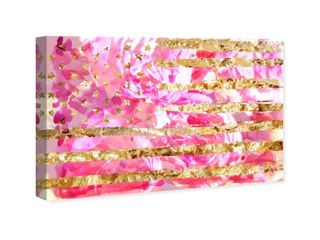 Oliver Gal  My America Pink  Americana and Patriotic Wall Art Canvas Print   Pink  Gold  Retail 126 99