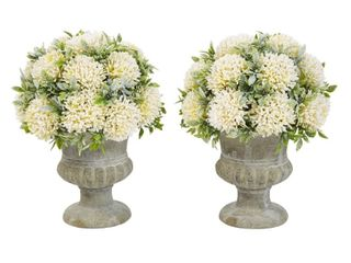Pure Garden 9 5 Inch Plastic Greenery Arrangement with Glitter and Decorative Urns  Set of 2