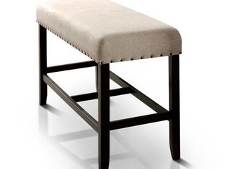 Furniture of America Tays Rustic Black linen Fabric Counter Bench  Retail 137 49