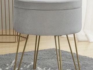 Round Velvet Storage Ottoman with Gold Metal legs   Tray Top Table  Retail 75 98