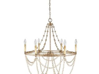 6 light Wagon Wheel chandelier in gold and silver leaf  Retail 411 99