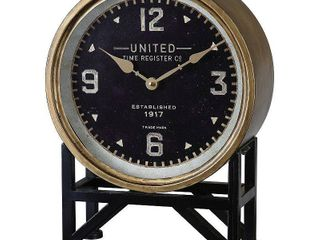 Uttermost Shyam Iron and Glass Vintage inspired Mantle Clock  Retail 151 80