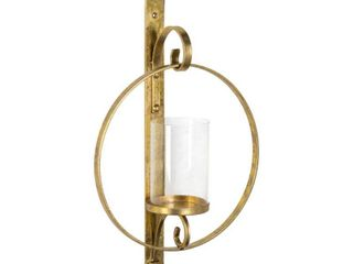 Round Glass and Metal Wall Sconce   12  x 22