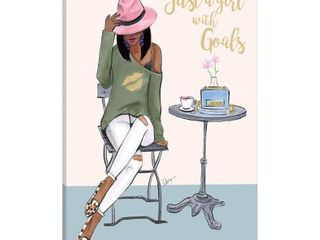 iCanvas  Just A Girl with Goals   Dark Skin  by Rongrong DeVoe