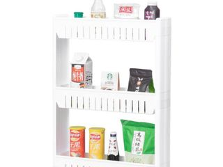 Plastic Storage Cabinet Organizer 3 Shelf Cart Rack Tower with Wheels