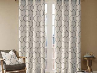Madison Park Asher Metallic Geo Embroidered Single Window Curtain Panel   Set of 2