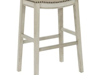 OSP Home Furnishings 30 Inch Bar Height Saddle Stools in Fabric Seat and Antique Base  2 Pack  Retail 151 49