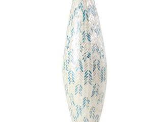 Modern 34 x 11 Inch Shell Inlaid Vase  Retail 88 49