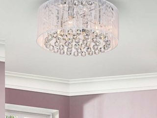 Silver Orchid Taylor 4 light Chrome and White Crystal Chandelier  Retail 107 49