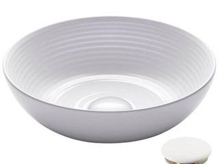 KRAUS Viva Round White Porcelain Ceramic Vessel Bathroom Sink w  Drain  Retail 115 49