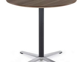 Round Bistro Home or Office Table with X Style Pedestal  Walnut w PVC Sealing Beveling Edge   Polished Stainless Steel   31 5  x 31 5  x 29 53