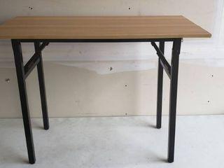39 5  x 19 5  Foldable Office Desk light Wood And Black Metal legs
